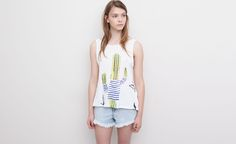 Pull&Bear - woman - t-shirts and tops - sleeveless cactus t-shirt - white - 05242359-V2015
