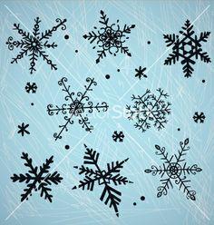 Doodle snowflakes vector - by kamenuka on VectorStock®
