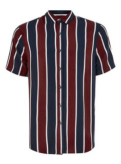 Blue and Burgundy Stripe Classic Shirt Carousel Image 0 Moda Indie, Outfits With Striped Shirts, Striped Shorts, Vertical Striped Shirt, Streetwear, Denim Shirt Men, Summer Shirts, Mens Clothing Styles, Look Cool