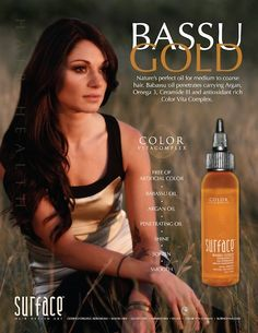 Surface Bassu Gold! This amazing light-weight oil absorbs instantly giving tons of moisture and helps lock in color!  Also comes in a lighter formula for fine hair.  This product is organic, sulphate-free, paraben-free, gluten-free & vegan! $26.95