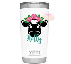 Cow with flowers Decal Heifer decal Tumbler Decal Floral decal Farm sticker cow sticker Wine glass Cow with flowers Dec Yeti Stickers, Etsy Handmade, Handmade Gifts, Birthday Cup, Diy Tumblers, Wedding With Kids, Cow Print, Shadow Box, Vinyl Decals