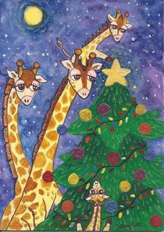 NFAC ACEO original Giraffe family Chrismas tree under moon night sky and star