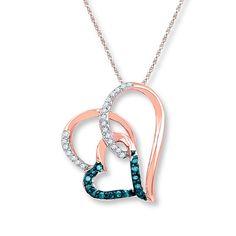 Heart Necklace 1/6 ct tw Blue Diamonds 10K Rose Gold