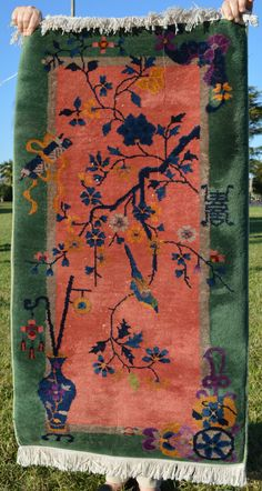 Antique Chinese Art Deco Rug // Size 2x4  // Salmon and Green // Rug #1