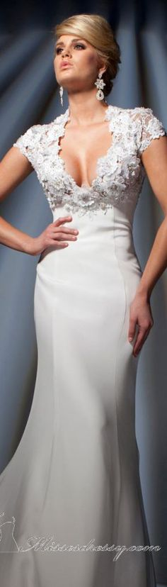 Tony Bowls Collections Formal dress #long #elegant #dress - [Young Woman Wearing Formal Ivory Evening Dress w. Lace Detail on the Chest & Shoulder Straps.