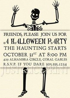 Skeleton Dance Halloween Party Invitation Printable