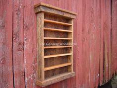 Barnwood display cabinet shot glass rack by TheGoAwayWoodshop