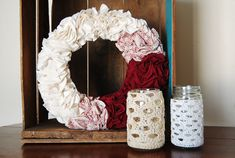 Crochet Mason Jar Candle Holder Rustic Decor Ready to Ship #masonjar #candle #crochet #rusticdecor