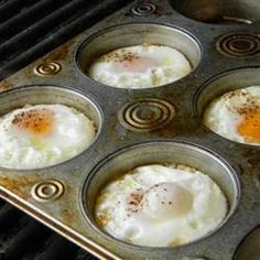 Eggs on the Grill ~ Have you ever tried eggs on the grill by using a muffin pan? Just spray the pan and crack the eggs and put them on the grill. Try adding some chopped peppers and onions or anything to your liking.