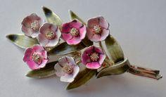 Enamel Flower Brooch Pink Vintage