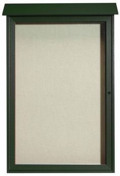 PLD4832-4. Green Single Hinged Door Plastic Lumber Message Center with Vinyl Posting Surface. 48″ High x 32″ Wide