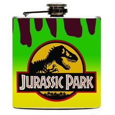 Jurassic Park Flask. Jurassic Park Hip Flask with background that matches the Jurassic Park car. $16.99, via Etsy. I need this!!