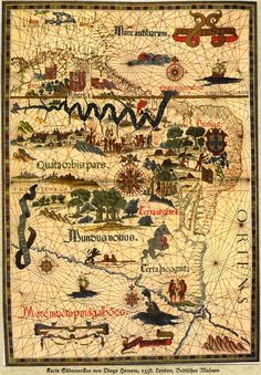 A 1558 map of South America. This beautiful map proves that even ancient generations had incredible artistic talents.