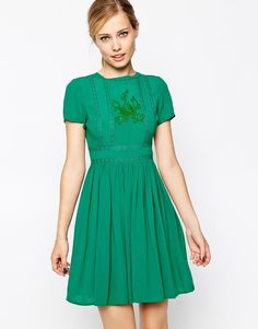 ASOS Premium Skater Dress With Embroidery And Lace