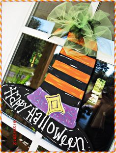 Happy Halloween Witches Hat Wood Cut Out Hanger