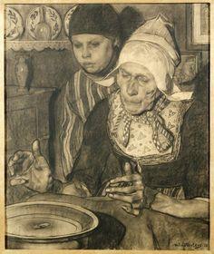 Volendammer interieur maker: Wouters, Wilhelmus Hendrikus Marie (Wilm) (1887-1967) Veel kunstenaars werden aangetrokken door het sobere en onzekere bestaan van de vissersbevolking aan de Zuiderzee. De onzekerheid van vrouw en kinderen die aan de wal bleven is een geliefd onderwerp geweest. Meestal staan vrouw en kinderen aan de haven uit te kijken naar het schip. In dit werk heeft Wilm Wouters de angst van een vissersvrouw weergegeven in een interieur. #NoordHolland #Volendam