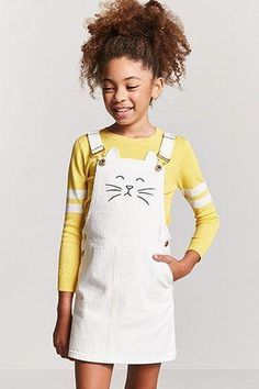 Forever 21 Girls Cat Face Overall Dress (Kids) Style Outfits, Cute Girl Outfits, Kids Outfits, School Outfits, Spring Outfits, Girls Fashion Clothes, Tween Fashion, Fashion Outfits, Fashion Fashion