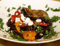 Roasted Eggplant with peppers and goat cheese