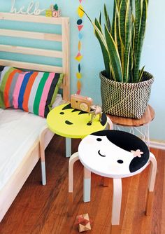 IKEA hack | Painted stools | Kawaii design stools