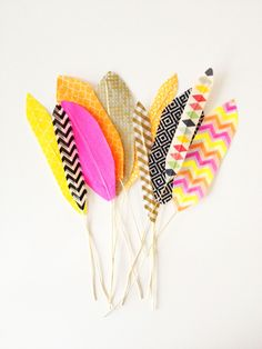 Feathers made of washi tape