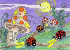 Lady Bug Cars aceo Print EBSQ Kim Loberg Fantasy insect Art Mushroom Man moon #IllustrationArt