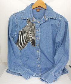 Denim Jean Shirt Size 3X Southwest Fabric Art Embellished Shirt Gift for Men Gift for Women One-of-a-Kind Oxford Shirt ao4L89oeM