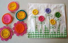 Buttoning flowers quiet book page