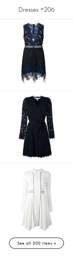 """Dresses #206"" by bliznec ❤ liked on Polyvore featuring dresses, black, self portrait dress, diane von furstenberg dress, diane von furstenberg, white, white long-sleeve dresses, giamba, white long sleeve dress and longsleeve dress"