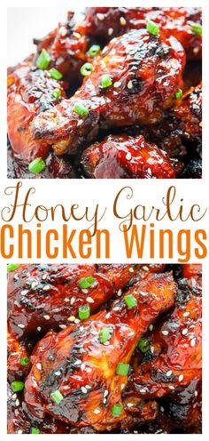 Siracha Chicken Wings, Baked Honey Garlic Chicken, Chicken Wing Marinade, Honey Bbq Wings, Honey Garlic Chicken Wings, Chicken Wing Sauces, Keto Fried Chicken, Honey Garlic Sauce, Baked Chicken Wings