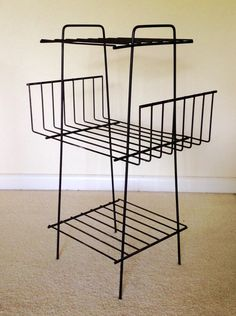 Wire Magazine Rack Bookshelf Plant Stand Mid Century by AtomiLuxe