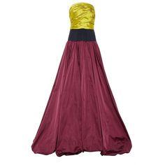 Oscar de la Renta Strapless Ruched Bodice Bubble Hem Gown ($10,990) ❤ liked on Polyvore