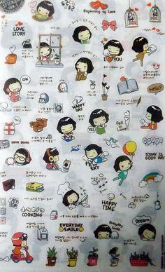 Kawaii Stickers autocollants transparent Helloday Ver.3 (5 planches) #stickers #kawaii