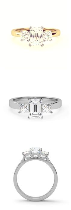 Kristen style engagement ring with tasteful trilogy setting with a central emerald cut stone and a princess cut diamond either side. Trilogy Engagement Ring, Diamond Engagement Rings, Princess Cut Diamonds, Wedding Rings, Wedding Bride, Emerald Cut, Diamond Rings, Vintage Jewelry, Stone