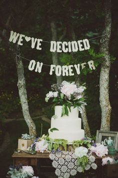 perfect wedding cake table for a lovely outdoor wedding; photo: Chantel Marie via The Every Last Detail