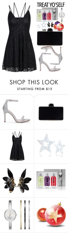 """It's Time to Treat Yo'Self! (Yoins black lace dress)"" by beebeely-look ❤ liked on Polyvore featuring Improvements, Marni, Molton Brown, DKNY, blackdress, partydress, holidaystyle, treatyoself and yoinscollection"