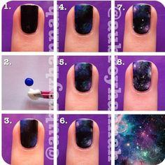 Step by step galaxy nail art (: