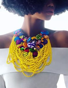 African Accessories, African Jewelry, Tribal Jewelry, Africa Necklace, Boho Necklace, Button Necklace, African Inspired Fashion, African Fashion, Ankara Fashion