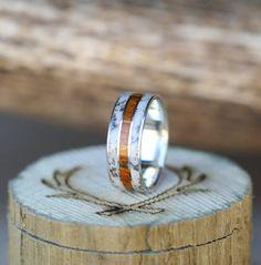 Mens Wedding Band Elk Antler & Wood Ring  Staghead Designs