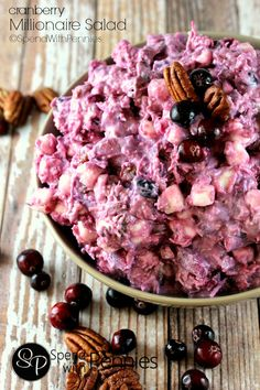 This Cranberry Millionaire Salad is the perfect side for any turkey dinner! A delicious mixture of fresh homemade cranberry sauce combined with pecans, coconu… Thanksgiving Recipes, Fall Recipes, Holiday Recipes, Fruit Salads For Thanksgiving, Thanksgiving Sides, Dessert Salads, Jello Salads, Ambrosia Salad, Good Food