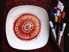 Love making personalized gifts!  Update: Nicolas made these for Christmas 2011 and they turned out AMAZING!  ...and soooo easy to use! Full price $25 for 4 markers but we used a ''Micheal's' coupon and got them for 40% off.  We made two serving plates, two serving bowls, two mugs, and two pie plates and there still is a bit of ink left in the markers! The packs only come in primary colors. but you can buy single makers in colors like brown, black and aqua for $6 each (Minus the coupon…