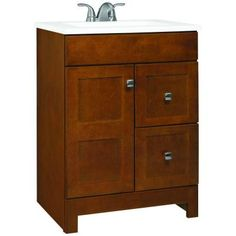 Glacier Bay Artisan 24 in. Vanity in Chestnut with Cultured Marble Vanity Top in White-PPARTCHT24DY at The Home Depot