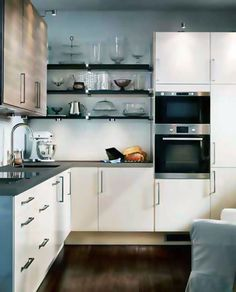 L shaped kitchen design ideas for small and large kitchen with island counter, cabinets and pantry