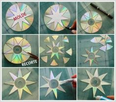 christmas craft old cds | Christmas Stars from Old CD Discs | CD's Crafts
