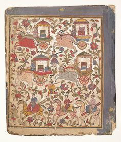 """Procession of carriages carrying booty"", page from a dispersed Bhagavata Purana manuscript, ca. 1640–50, India (Gujarat), source: The Metropolitan Museum of Art"