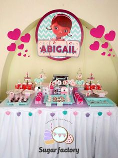 Love this party table at a Doc McStuffins birthday party! See more party planning ideas at CatchMyParty.com!