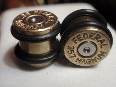 "Bullet ear plugs 357 MAGNUM Bullet Plug Earrings Bullet Shell 00 gauge 3/8""... Two Tone Gold & Silver FEDERAL. $29.99, via Etsy."