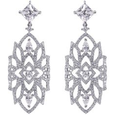 Carat Willa Heroines Chandelier Earrings ($385) ❤ liked on Polyvore featuring jewelry, earrings, sterling silver chandelier earrings, chandelier jewelry, geometric jewelry, earrings jewelry and sparkle jewelry