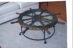 Custom iron ships wheel table base Ship Wheel, Iron Table, Nautical Theme, Tables, House Ideas, Ships, Base, Creative, Projects