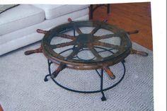 Custom iron ships wheel table base Ship Wheel, Iron Table, Nautical Theme, Tables, House Ideas, Ships, Base, Projects, Furniture