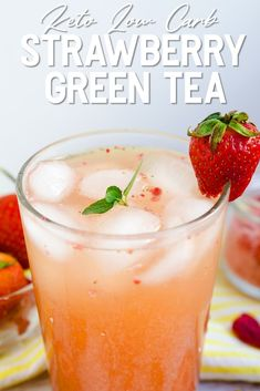 This keto strawberry iced green tea is a perfect refreshing drink for the spring and summer months! Made with natural strawberry powder and an earthy green tea, it's a healthy and natural low carb drink you can make in the comfort of your own home!
